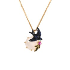 Swallow and white stone necklace