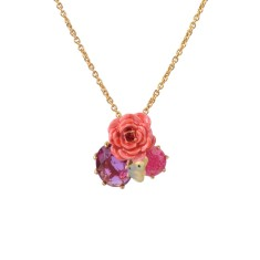 Rose, butterfly and pink stones necklace