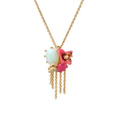 Imaginary flower, butterfly and chain necklace