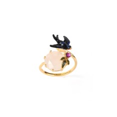 Swallow and white stone adjustable ring