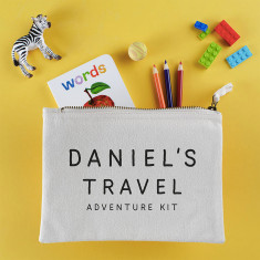 Personalised Kids Travel Adventure Kit Pouch