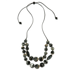 Eloquence artisan double edge necklace in black