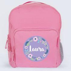 Personalised Floral Wreath School Bag
