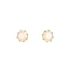 Small round stone white diamantine earrings