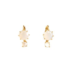 Two round stone earrings - white diamantine