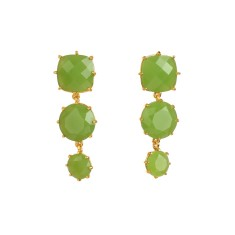 Three stones apple green diamantine earrings