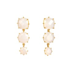 Three stones earrings - White Diamantine