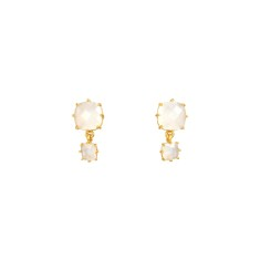 Two squatter stone white diamantine earrings