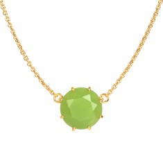 Round stone necklace - Green Diamantine