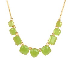 Nine stones apple green necklace - Green Diamantine