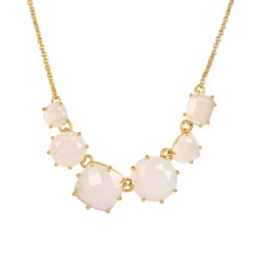 Six stones white diamantine necklace