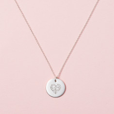 Personalised Geometric Heart Disc Necklace