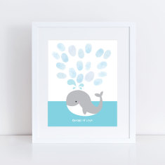 Whale fingerprint guest book print and ink