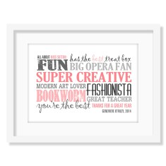 About my teacher personalised print (own colours)