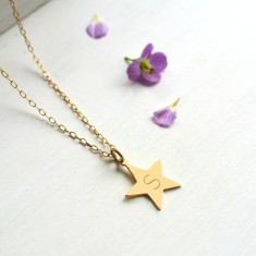 Personalised Gold Star Initial Pendant Necklace