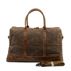 Canvas Travel Waterproof Duffle Bag With Leather Handle in Brown