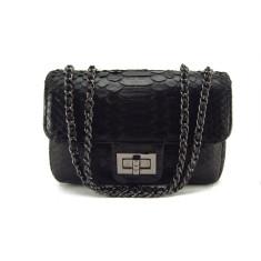 Black python leather crossbody sling bag