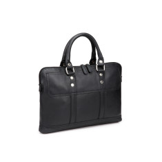 TheCultured Leather Slim Laptop Bag In Black