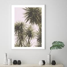 Vintage pink palms art print