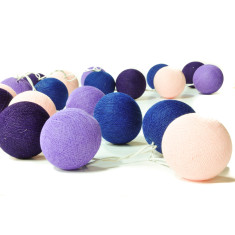 Purple cotton ball stringlights