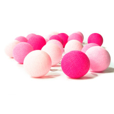 Pink cotton ball stringlights