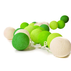 Green & white cotton ball stringlights