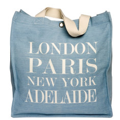 London, Paris, New York, Adelaide Large Denim Tote