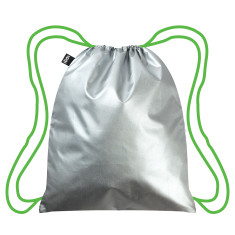 LOQI metallic neon collection backpack in silver & green