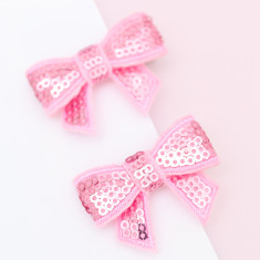 Sequin bow hair clips (pastel colours)