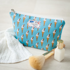 Ice cream Cone On Blue Makeup Toiletry Wash Bag