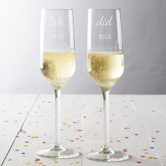 Personalised We Did Anniversary Champagne Glass Set