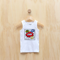 Personalised superhero comic singlet
