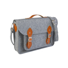 Felt laptop bag with brown leather