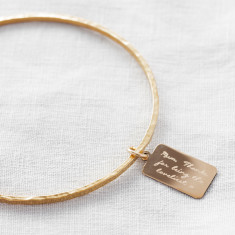 Personalised Gold Tiny Tag Message Bangle