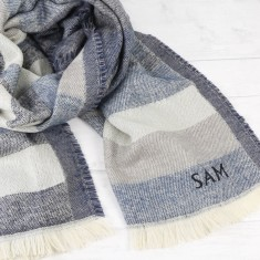Personalised Denim Blue Tartan Wrap Scarf