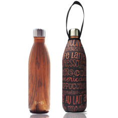 Stainless steel future bottle with carry cover in kofe print (500ml)