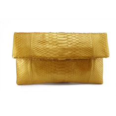 Solid gold python leather classic foldover clutch