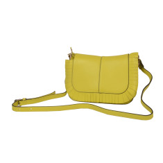 Small Leather Shoulder Bag Cross-body in Canary Yellow
