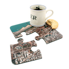 Satellite photo jigsaw coasters (set of 4)