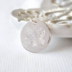 Sterling Silver Decorative Initial Necklace