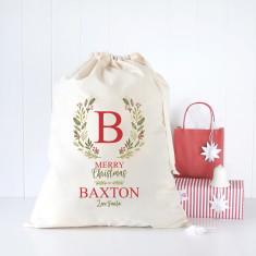 Initial Wreath personalised Santa sack