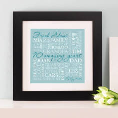 Personalised 70th Birthday Square Word Art