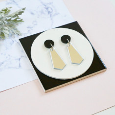 Jazzy drop earrings - silver mirror and black
