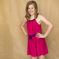 Girls' contrast dress in raspberry and pink
