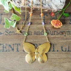Agatha gold butterfly and semiprecious stone necklace