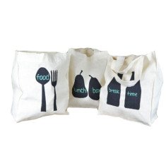 Cotton lunch totes set of 3