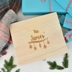 Wooden Personalised Christmas Decoration Box