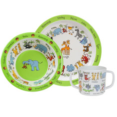 Tyrrell Katz Jungle Animals Melamine Dinner Set with Training Cup