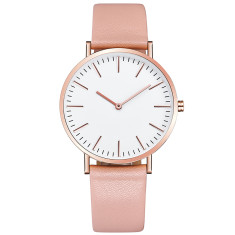Engraved personalised womens watch with leather band (rose gold)