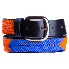 Leather beaded belt in blue/orange